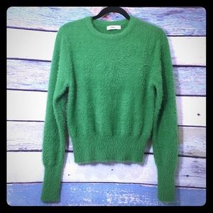 Zara Knit Green Long Sleeve Cropped Sweater Large